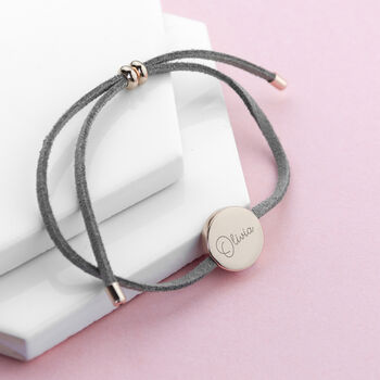 Personalised Signature Name Grey Suede Bracelet