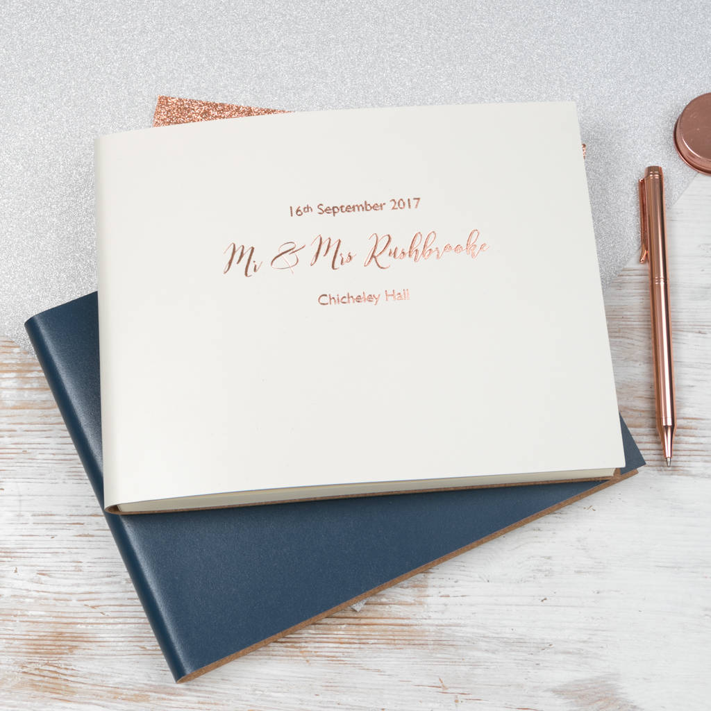 Personalised Leather Bound Wedding Guest Book By Begolden