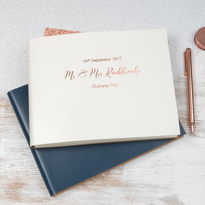 Personalised Leather Bound Wedding Guest Book - guest books