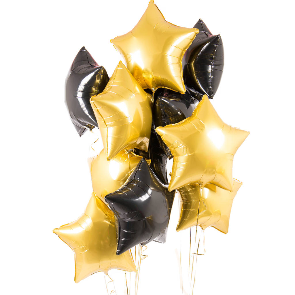 Ten Black And Gold Inflated Star Foil Balloons By