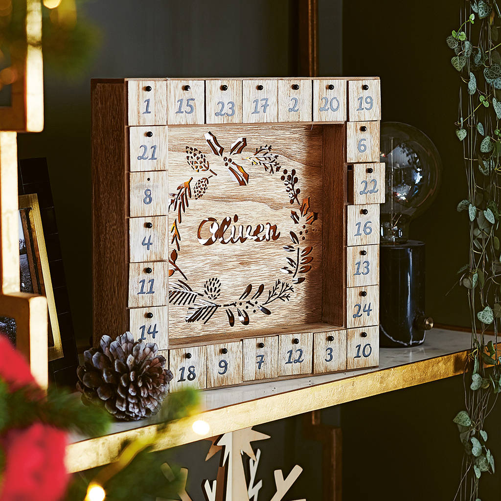 Personalised Wooden Advent Calendar Light Box by Lisa Angel