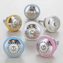 Silver Applique Round Ceramic Door Knobs Handles