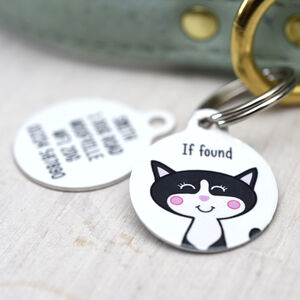Cat ID Tag Personalised White Bold