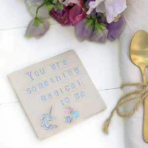 Something Magical Unicorn Ceramic Coaster - birthday gifts
