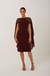 Burgundy Eva Cape Midi Dress