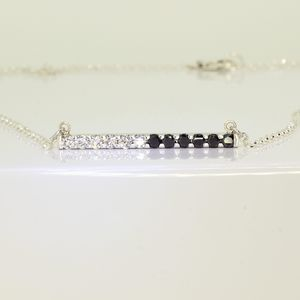 White Gold Diamond Bar Necklace - necklaces & pendants