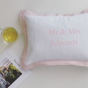 Personalised Mr And Mrs Cushion With French Border