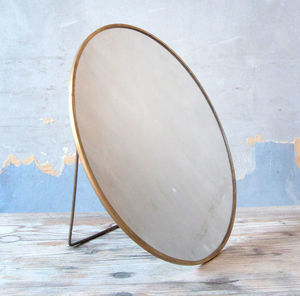 Brass Circular Free Standing Or Wall Mounted Mirror - bedroom