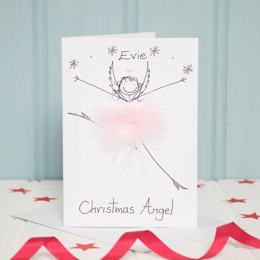 Handmade Personalised Christmas Angel Card By All Things
