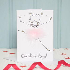 Handmade Personalised Christmas Angel Card - cards