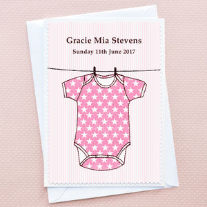 Personalised New Baby Girl Card 'Babygro'