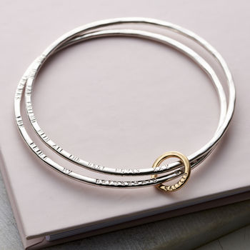 Personalised 9ct Gold And Silver Double Bangle