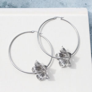 Detailed Flower Boho Hoops In Silver Or Gold - earrings