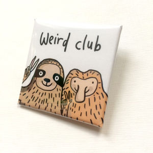 'Weird Club Sloth And Monkey' Pin Badge - pins & brooches