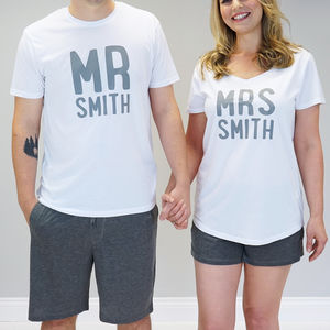 Personalised Mr And Mrs Pyjama Set - more