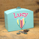 Personalised Money Box With Stripey Heart