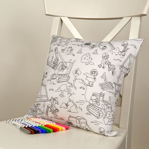 Building Site Fun Colour Me In Cushion - children's room