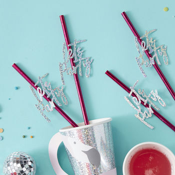 Foiled Hot Pink Lets Party Iridescent Flag Paper Straws