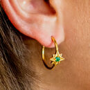 Guiding North Star Gemstone Gold Hoops