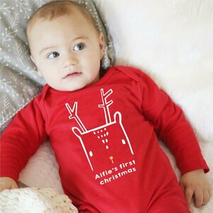 First Christmas Nordic Deer Babygrow