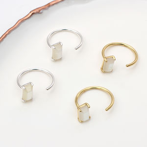 18ct Gold Or Silver And Moonstone Pull Through Earrings