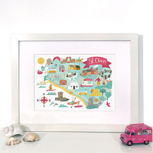 'St Ouen' Map, Illustrated Giclée Wall Art Print
