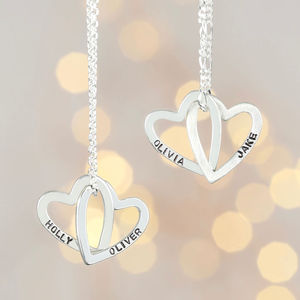 Personalised Interlocking Hearts Pendant Necklace - necklaces & pendants