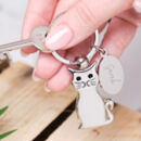 Personalised Cat Keyring With Engraved Charm