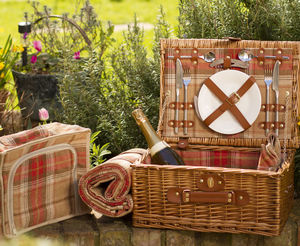 Personalised Suitcase Picnic Hamper Amber Tartan - best gifts for grandparents