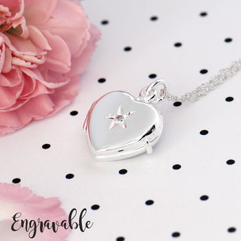 Personalised Heart Locket With Diamond Sterling Silver