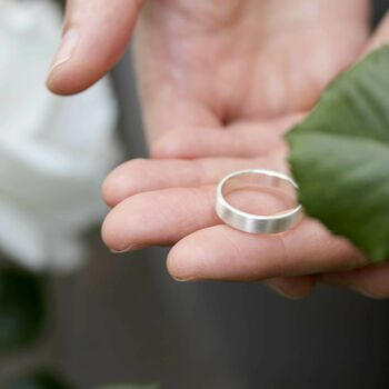 Flat Wedding Ring Personalised Silver Ring