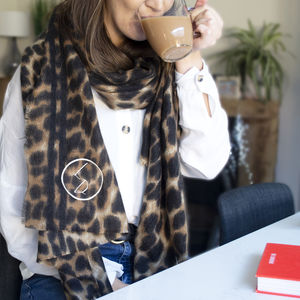 Personalised Leopard Print Winter Scarf - keeping cosy