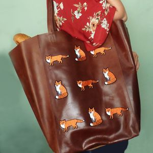 Little Foxes Extra Large Brown Leather Tote - shoulder bags
