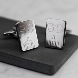 Personalised Initials And Plane Cufflinks - men's accessories