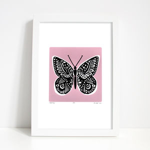 'Butterfly' Print In Powder Pink - children's pictures & paintings