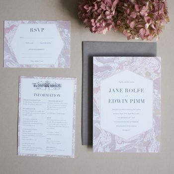 Grey And Pink Marbled Wedding Invite Sample