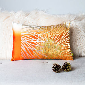 Metallic Orange Kiku Upcycled Vintage Kimono Cushion - living room