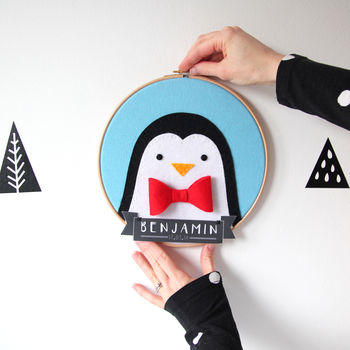 Personalised Penguin Embroidered Wall Hanging