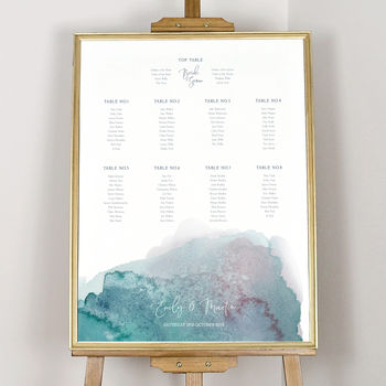 Personalised Watercolour Hues Table Plan