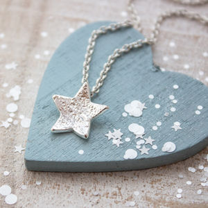 Textured Small Silver Star Necklace