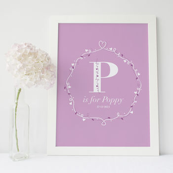 Personalised Baby Name Print Girl / Pink