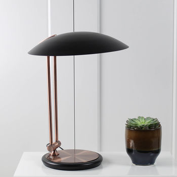 Copper And Black Twin Arm Table Lamp