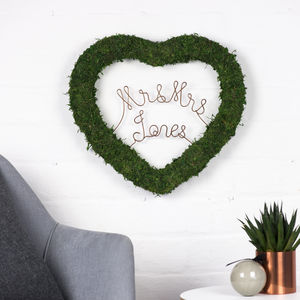 Personalised Moss Heart Decoration - wreaths