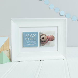 Personalised 'New Baby' Clay Tile Photo Frame - photography & portraits