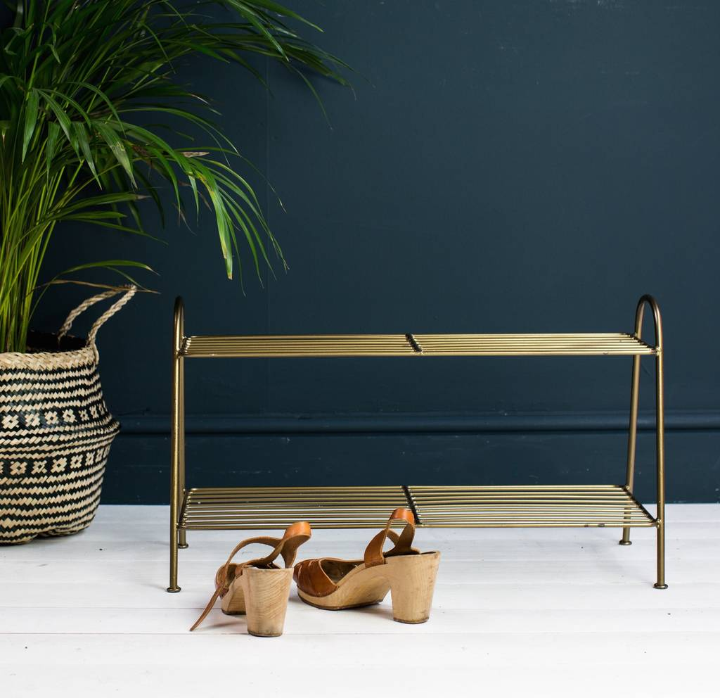 Danish, Burnished Gold Shoe Rack by The Forest &Amp; Co