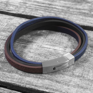 Personalised Multi Coloured Men's Leather Bracelet