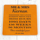 Third Anniversary Personalised Leather Coaster