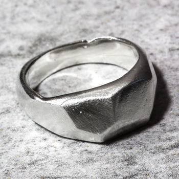 Sterling Silver Facet Sand Cast Ring