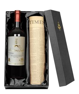 Vintage Bordeaux Wine With Newspaper Gift Set