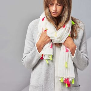 Neon Tassel Scarf - winter sale
